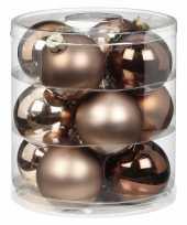 Tube met 12x bruine champagne gouden kerstballen van glas 8 cm glans en mat