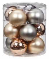Tube met 12x champagne zilveren kerstballen van glas 8 cm glans en mat