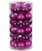 Tube met 30 fuchsia roze kerstballen van glas 4 cm glans en mat