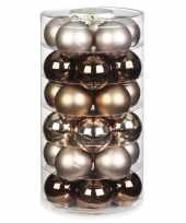 Tube met 30x bruine gouden champagne kerstballen van glas 6 cm