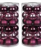Tube met 60x roze en rode kerstballen van glas 6 cm glans en mat