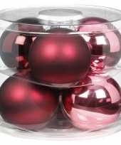 Tube met 6x roze rode kerstballen van glas 10 cm glans en mat