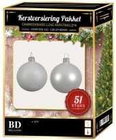 Winter witte kerstballen pakket 51 delig voor 120 cm boom