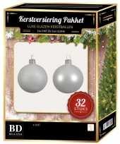 Winter witte kerstversiering kerstballen 32 delig 6 cm 8 cm 10 cm