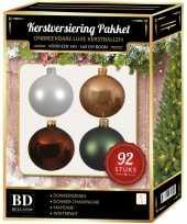 Wit beige bruin groen kerstballen pakket 92 delig voor 150 cm boom