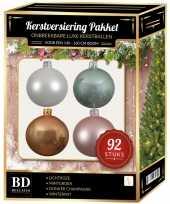 Wit beige mint roze kerstballen pakket 92 delig voor 150 cm boom