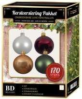 Wit donker champagne donkerrood donkergroen kerstballen pakket 170 delig voor 210 cm boom