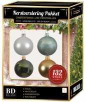 Wit goud donkergroen mintgroen kerstballen pakket 132 delig voor 180 cm boom