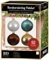 Wit goud ijsblauw bruin kerstballen pakket 92 delig voor 150 cm boom