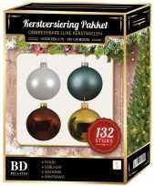 Wit goud ijsblauw mahoniebruine kerstballen pakket 132 delig voor 180 cm boom