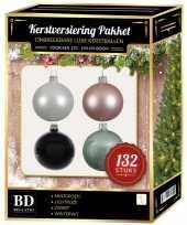 Wit mint lichtroze zwarte kerstballen pakket 132 delig voor 180 cm boom