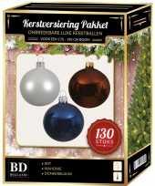 Witte bruine donkerblauwe kerstballen pakket 130 delig voor 180 cm boom
