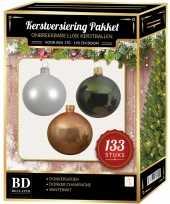 Witte donker champagne donkergroene kerstballen pakket 133 delig voor 180 cm boom