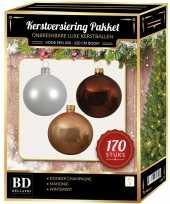 Witte donker champagne mahonie bruine kerstballen pakket 170 delig voor 210 cm boom