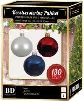 Witte donkerblauwe kerst rode kerstballen pakket 130 delig voor 180 cm boom