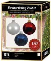 Witte donkerblauwe kerst rode kerstballen pakket 170 delig voor 210 cm boom