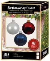 Witte donkerblauwe rode kerstballen pakket 91 delig voor 150 cm boom