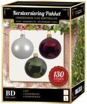 Witte donkerrode donkergroene kerstballen pakket 130 delig voor 180 cm boom