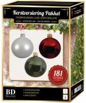 Witte donkerrode groene kerstballen pakket 181 delig voor 210 cm boom