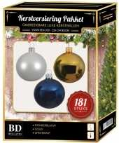 Witte gouden blauwe kerstballen pakket 181 delig voor 210 cm boom