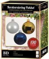 Witte gouden donkerblauwe kerstballen pakket 130 delig voor 180 cm boom