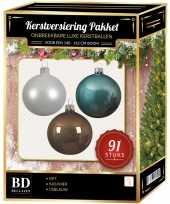 Witte ijsblauwe kasjmier bruine kerstballen pakket 91 delig voor 150 cm boom