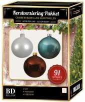 Witte ijsblauwe mahonie bruine kerstballen pakket 91 delig voor 150 cm boom
