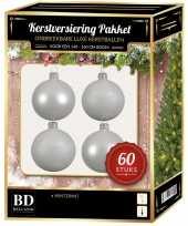Witte kerstballen pakket 60 delig voor 150 cm boom