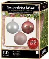 Witte lichtroze oud roze kerstballen pakket 133 delig voor 180 cm boom
