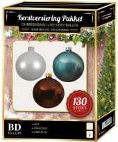 Witte mahonie bruine ijsblauwe kerstballen pakket 130 delig voor 180 cm boom