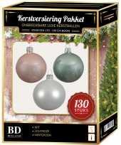 Witte mintgroene lichtroze kerstballen pakket 130 delig voor 180 cm boom