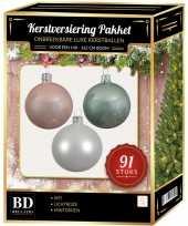 Witte mintgroene lichtroze kerstballen pakket 91 delig voor 150 cm boom