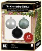 Witte mintgroene zwarte kerstballen pakket 91 delig voor 150 cm boom