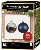Zilver met donkerblauwe kerstballen pakket 90 delig voor 150 cm boom