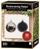 Zilver met zwart kerstballen pakket 90 delig voor 150 cm boom