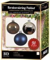 Zilvere donkerblauwe kasjmier bruine kerstballen pakket 91 delig voor 150 cm boom