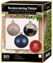 Zilvere donkerblauwe lichtroze kerstballen pakket 91 delig voor 150 cm boom