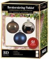 Zilveren bruine donkerblauwe kerstballen pakket 91 delig voor 150 cm boom