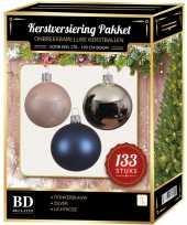 Zilveren donkerblauwe lichtroze kerstballen pakket 133 delig voor 180 cm boom