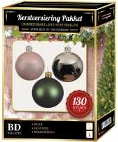 Zilveren donkergroene lichtroze kerstballen pakket 130 delig voor 180 cm boom