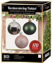 Zilveren donkergroene lichtroze kerstballen pakket 170 delig voor 210 cm boom