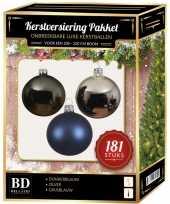 Zilveren grijsblauwe blauwe kerstballen pakket 181 delig voor 210 cm boom