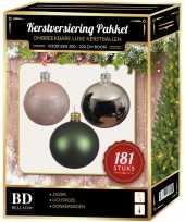 Zilveren groene roze kerstballen pakket 181 delig voor 210 cm boom