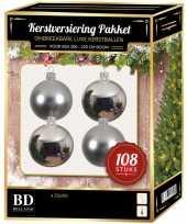 Zilveren kerstballen pakket 108 delig voor 210 cm boom