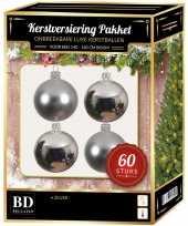 Zilveren kerstballen pakket 60 delig voor 150 cm boom