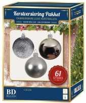 Zilveren kerstballen pakket 61 delig voor 150 cm boom