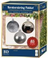 Zilveren kerstballen pakket 85 delig voor 180 cm boom