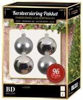 Zilveren kerstballen pakket 96 delig voor 180 cm boom