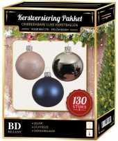 Zilveren lichtroze donkerblauwe kerstballen pakket 130 delig voor 180 cm boom