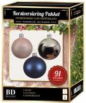 Zilveren lichtroze donkerblauwe kerstballen pakket 91 delig voor 150 cm boom